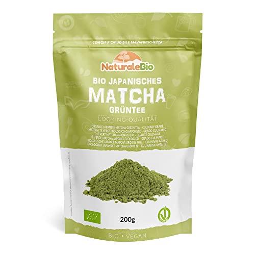Matcha Tee Pulver Bio [ Cooking-Qualität ] 200 GR | Original Green Tea aus Japan | Japanischer Matcha Ideal zum Smoothies - Shakes - Latte | Tee hergestellt in Japan Uji, Kyoto | NATURALEBIO