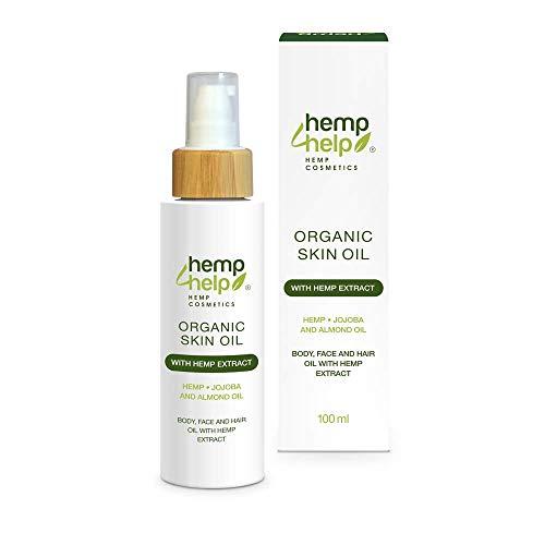 Hanf Haut-Öl mit Jojoba-Öl und Mandel-Öl - Hemp 4 Help BIO Hautöl mit Hanf E.xtract (100 ml): 3 in 1 Körper-Öl, Gesichts-Öl, Haar-Öl mit Mandelblüten zur Haut-Pflege für unreine und trockene Haut