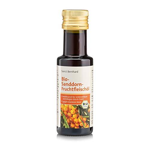 Sanct Bernhard Sanddorn Fruchtfleischöl 100{8078fd7448235b783217c097e930646db625df0a260b630d3d5e5e73740ecf76} rein, aus kontrolliert biologischem Anbau, mit Palmitin- und Palmitoleinsäure, Inhalt 100 ml