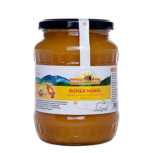 Roher Honig von ImkerPur, ungefiltert, nicht geschleudert oder erhitzt, enthält Blütenpollen, Bienenwachs, Propolis, Bienenbrot und Gelee Royal (1000 g Roher Engelwurzhonig)