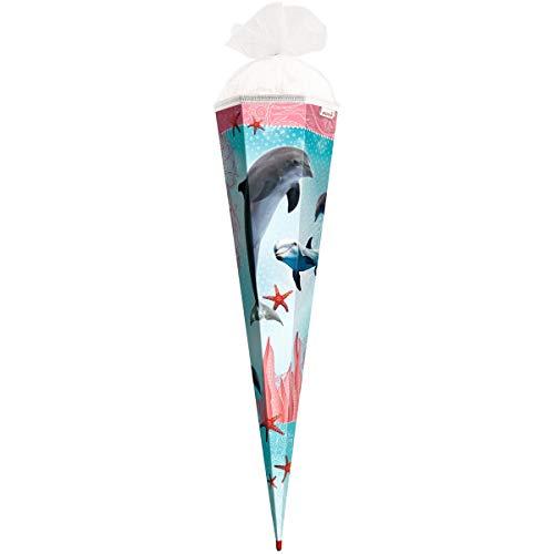 ROTH 678773 Schultüte Delfin Seesterne 85 cm, eckig, Tüll