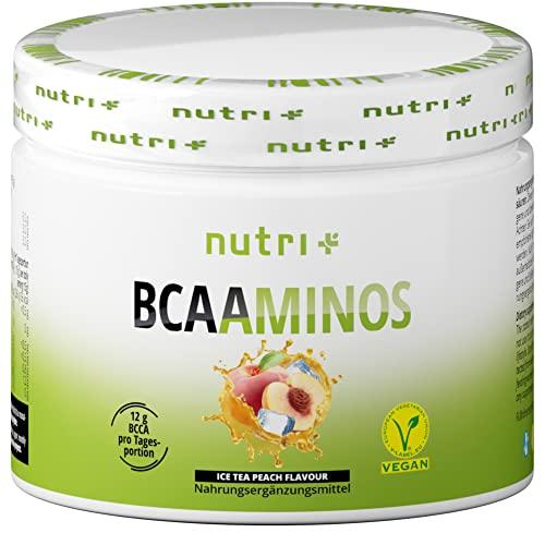 INSTANT BCAA PULVER VEGAN | Hochdosierte Aminosäuren BCAAs | L-Leucin L-Isoleucin L-Valin 2:1:1 Aminosäure | Nutri-Plus | Geschmack Pfirsich-Eistee | Ice-Tea Peach 300g
