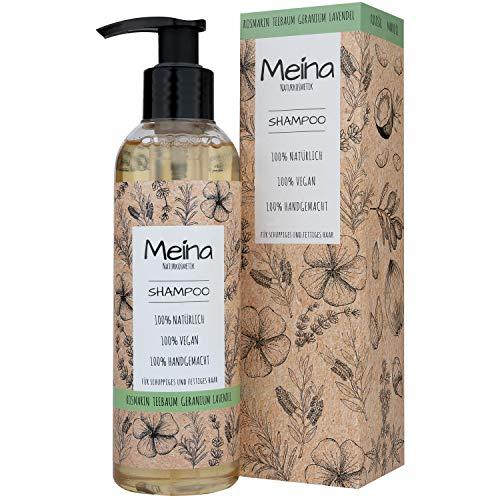 Meina Naturkosmetik - Bio Shampoo mit Teebaum und Lavendel - Vegan Haarshampoo mit Bio-Mandelöl und Bio-Kokosöl, ohne Silikone, Sulfate und Parabene
