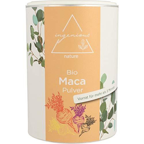 ingenious nature® Laborgeprüfter Bio Maca Pulver Mix 500g - aus den vier Maca Sorten gelb, rot, lila und schwarz, roh, aus Peru. Angebaut auf über 4400m. Vorrat für 100 Tage.