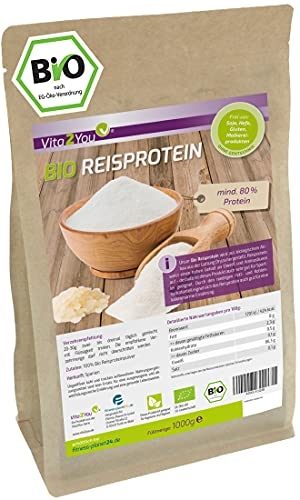 Bio Reisprotein 1kg im Zippbeutel - mind. 80{834a0360d9429091d3e833563cc5f4264ea920ec179b33f29f347d93c564fc32} Protein - Eiweiss - Glutenfrei - 1er Pack (1000g) - Premium Qualität