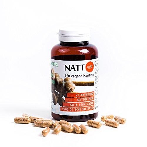 Natto BIO (getrocknet in Kapseln) 120 vegane Kapseln - Vitamin K2mk7, Nattokinase, Soja - Isoflavone, Probiotische Bakterien