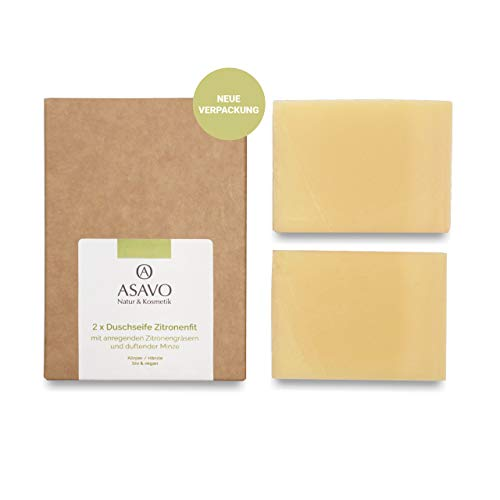 ASAVO Premium Naturseife Zitronenfit, handgeschöpfte Naturseife, mit Bio-Karitébutter & dem Duft von Zitronengras & Minze, vegan, Clean Beauty, 2x95g