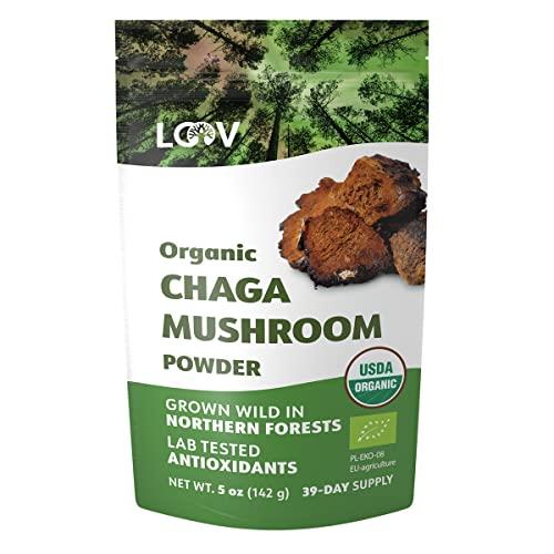 Bio Chaga Pulver, 142 g, aus der Wildnis Unberührter Nordischer Wälder, Roh, Reich an Antioxidantien, 39 Tage Vorrat, Ideal zum Trinken als Chaga Tee, USDA/EU-Zertifiziert Biologisch