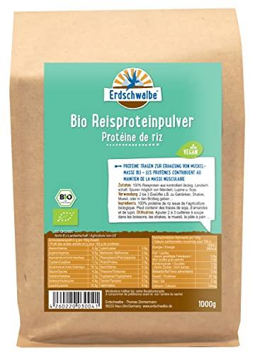 Erdschwalbe EU Bio Reisprotein - Hergestellt in der EU - Veganes Eiweißpulver - 1 Kg