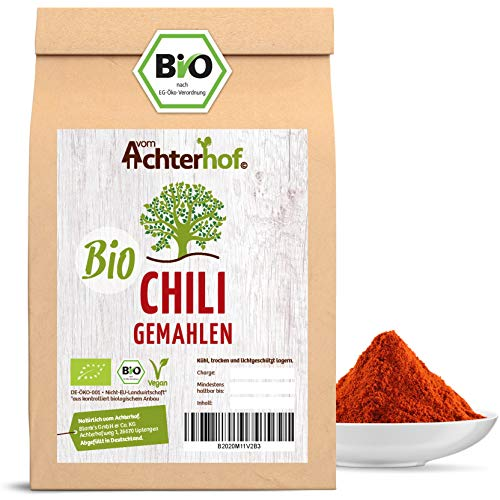 Chili Pulver BIO (250g) rot scharf aus getrockneten Chilischoten fein gemahlen Chilipulver vom-Achterhof