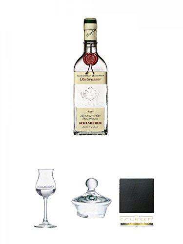 Schladerer Obstwasser aus Äpfel und Birnen - Deutschland + Schladerer Kelchglas 1 Stück + Schladerer Deckel für Kelchglas 1 Stück + Schiefer Glasuntersetzer eckig ca. 9,5 cm Durchmesser
