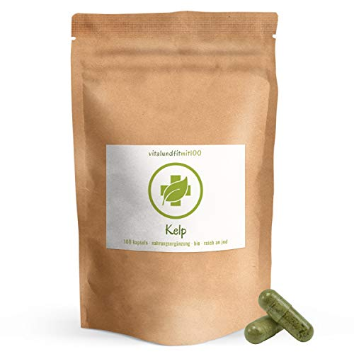 Bio Kelp Kapseln - Jodkapseln 100 Stück à 200 mg - aus Meeresalgen - hochdosiert - Kelp, Braunalge - 100{8f27da7f296b8b8127bf30a77637c2a82e00272c802bfe430c893b82a9261866} BIO, vegan & rein - glutenfrei, laktosefrei - OHNE Hilfs- u. Zusatzstoffe