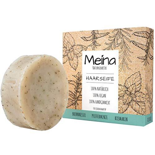 Meina - Haarseife Naturkosmetik - Bio Shampoo Bar mit Brennnessel und Minze (1 x 85 g) vegan festes Shampoo, Shampooseife für Männer und Frauen