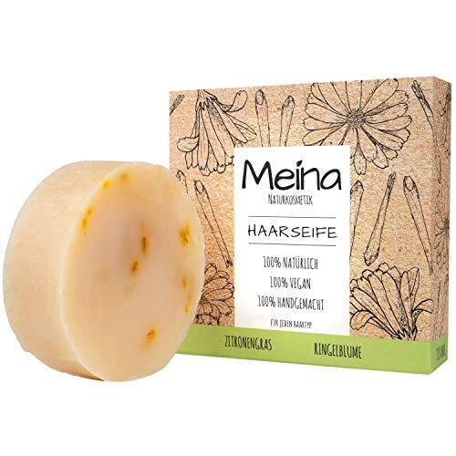 Meina - Haarseife Naturkosmetik - Bio Shampoo Bar mit Zitronengras und Ringelblumen (1 x 80 g) vegan festes Shampoo, Shampooseife für Männer und Frauen