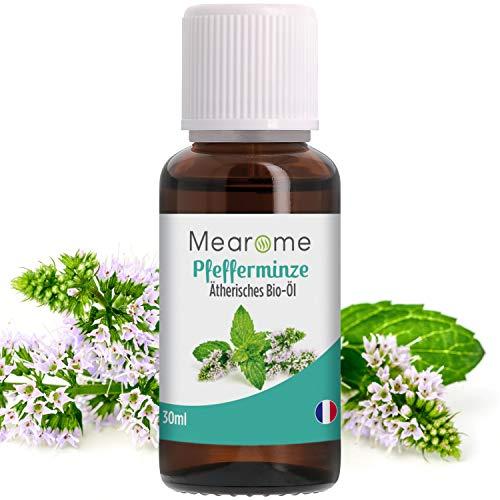 Pfefferminzöl BIO ätherisches Öl 100{3493cdfbc5a8e17afe5ab72519ac556a80af424d1cbe1a32f3c01e8bbe4a952a} Naturrein zum Verzehr + gegen Kopfschmerzen + Migräne - Zertifiziertes BIO-Produkt - Duft-Öl Pfefferminze 30ml, Aroma für Diffuser, Aromatherapie