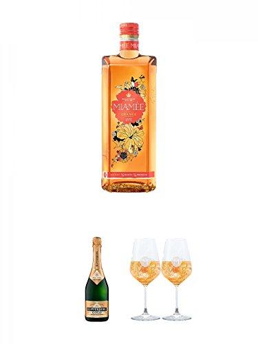 Miamee Orange Goldwasser Likör 0,7 Liter + Kupferberg Gold Sekt trocken Österreich 0,75 Liter + Miamee Goldwasser Cocktail Gläser mit 5cl Eichstrich 2 Stück