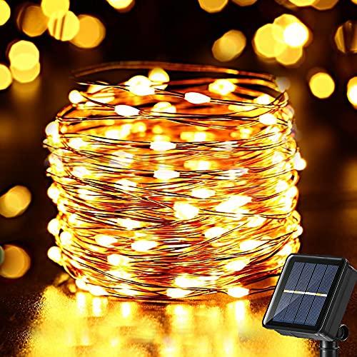 NEXVIN 10m 100 LED Solar Lichterkette Aussen - 8 Modi Leuchtende Solar Lichterkette Draußen, IP65 Wasserdicht Kupferdraht Lichterketten für Garten Weihnachten Hochzeit Party (Warmweiß)