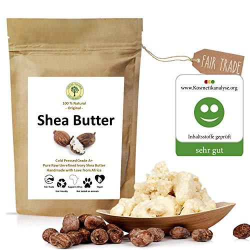 Grüne Valerie - Ivory Karite Shea Butter - Kaltgepresst (Grad A+) pur, rein, frische und unrafinierte 250 g im Frischepack - Das Beste vegane Hautpflegeprodukt aus dem fairen Handel