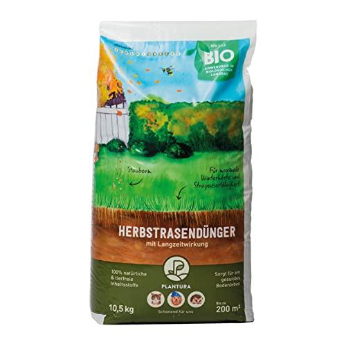 Plantura Bio Herbstrasendünger mit Langzeit-Wirkung, für maximale Winterhärte, idealer Dünger für den Rasen im Herbst, unbedenklich für Hund, Haus- & Gartentiere, Rasendünger, Langzeitdünger