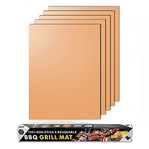 Merrday Kupfer Grillmatte, 5-Pack Heavy Duty Magic BBQ Grillmatten Antihaft, wiederverwendbar und einfach zu reinigen Barbecue Grillen Zubehör für Gas, Elektro und Holzkohle Grillen