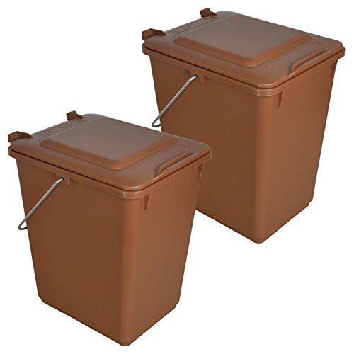 Sulo 2 x Bio Boy Müllbehälter für Küche und Garten 10 Liter im Set Braun BIOABFALL