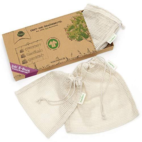 TreeBox Einkaufsnetze für Obst und Gemüse aus 100{d3a232f45282929fd2d3b805629a9ef6d79c11114c7c03afc1bb06838b2cd8c2} Bio-Baumwolle (GOTS) - 3er Set - Mit Gewichtsangabe - Überaus langlebig - FSC® zert. Verpackung