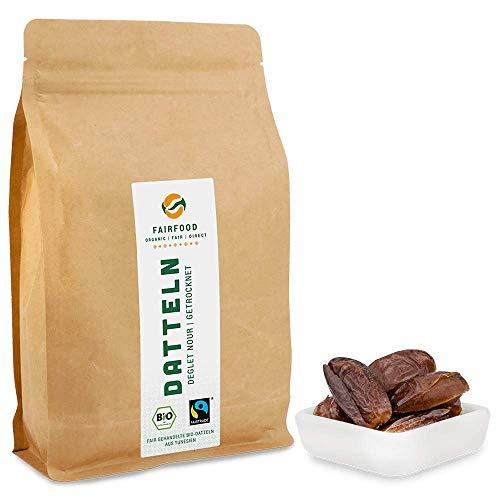 1000g Bio Fairtrade getrocknete Datteln: Deglet Nour | Natürliche Qualität | Getrocknet & Entsteint aus Kooperative in Tunesien | Fair gehandelt | Ungeschwefelt und Ungezuckert