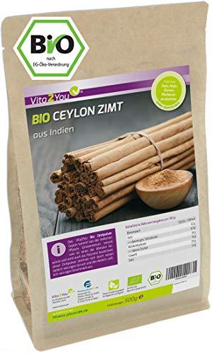 Bio Ceylon Zimt Pulver 500g im Zippbeutel - Ökologischer Anbau - Glutenfrei - Zimt gemahlen - Zimtpulver - Premium Qualität