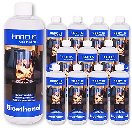 ABACUS Flamme 12x 1000 ml (7069) Brennstoff Alkohol Brennalkohol Brennspiritus Spiritus Lampenbrennstoff Bio-Ethanol für Tischkamine