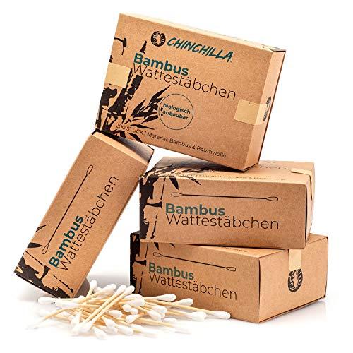 Chinchilla® 4er-Pack Bambus Wattestäbchen (800 Stück) 100{23137e4099ec5a8752626e37b03413260115b64d59edbe43fc9da3d3a1fd16fc} Biologisch Abbaubar, Kompostierbar, Vegan & Nachhaltig