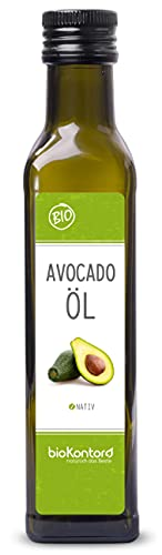 Avocadoöl/Avocado-Fruchtfleischöl - Bio-Zertifiziert - nativ, kaltgepresst, 100{4b249000e11ab35b9271e63912177470d3752aa6a784cf7d0947627292d9a70a} rein von bioKontor - 250ml