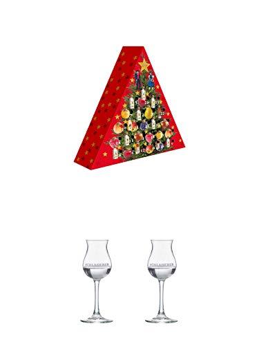 Adventskalender Elztalbrennerei Weis Edelobstbrände & Liköre 24 x 0,02 Liter + Schladerer Kelchglas 1 Stück + Schladerer Kelchglas 1 Stück