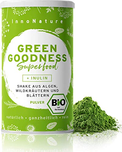 "Bio ""Green Goodness\"" Superfood Shake mit 12 Superfoods (Weizengras + Gerstengras + Moringa + Chlorella + Spirulina + Kelp etc.) 300g Premium grünes Smoothie Pulver/Shake. Vegan + hergestellt in DE."