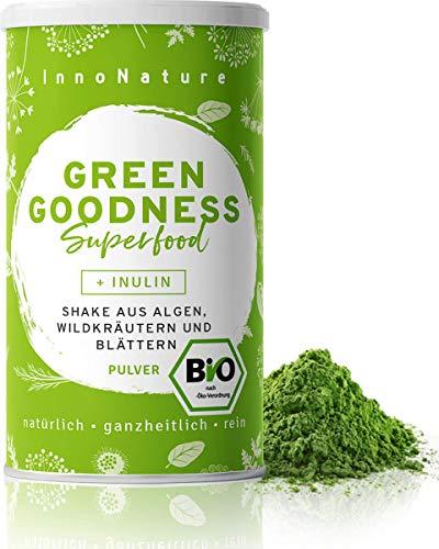 """Bio \""""Green Goodness\"""" Superfood Shake mit 12 Superfoods (Weizengras + Gerstengras + Moringa + Chlorella + Spirulina + Kelp etc.) 300g Premium grünes Smoothie Pulver/Shake. Vegan + hergestellt in DE."""