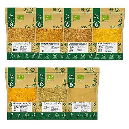 BIO Indische Gewürzmischungen Masala 7er SET - Garam Masala, Chicken Curry, Hot Bombay Curry, Asiatische Curry, Kreuzkümmel gemahlen, Kurkumapulver, Chai Masala - 140g
