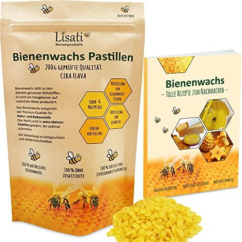 100{49dbd5ca1f26d82a57e345febb3bfb391862a43cf4f14cd3f2ad851a1d5ec065} natürliche schnell schmelzende Bienenwachs Pastillen vom Imker für die Herstellung Salben Seifen Kerzen 100g 200g im lichtundurchlässigen wiederverschließbaren Beutel für lange Haltbarkeit
