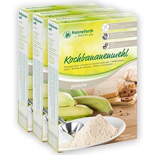 Hanneforth Glutenfreies Mehl aus Kochbananen - 3x500gr Reines Kochbananenmehl - Weizen-, Ei-, Milch-, Laktose- und Glutenfrei Backen - Ideal als Paleo Mehl - Perfekt bei Zöliakie