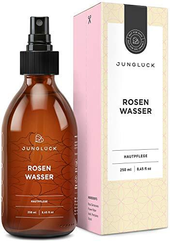 Junglück veganes Rosenwasser in Braunglas - Reinigung und Pflege für Gesicht & Haut durch das destillierte Wasser von Rosen - natürliche & nachhaltige Kosmetik made in Germany - 250 ml