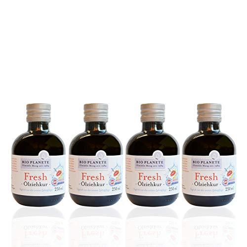 BIO PLANETE Ölziehkur Fresh (4 X 250 Ml), Milde Ölzieh-Kur, Bio, Vegan, Fluoridfrei, Naturkosmetik