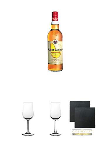Mount Gay Eclipse Rum 2 Jahre Barbardos 0,7 Liter + 2 Bugatti Nosing Gläser mit Eichstrich 2cl und 4cl + 2 Schiefer Glasuntersetzer eckig ca. 9,5 cm Ø