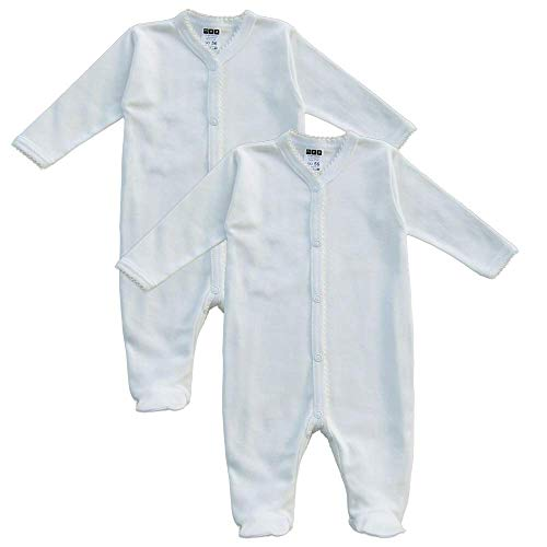 MEA BABY Unisex Baby Schlafstrampler aus 100{2849f3607b733b02eb7c04aa2652d8753ddc18ca907e119a65c8b8938e491240} Bio-Baumwolle im 2er Pack. Schlafstrampler Weiß (Creme), Schlafstrampler für Junge, Strampler für Mädchen. (62)