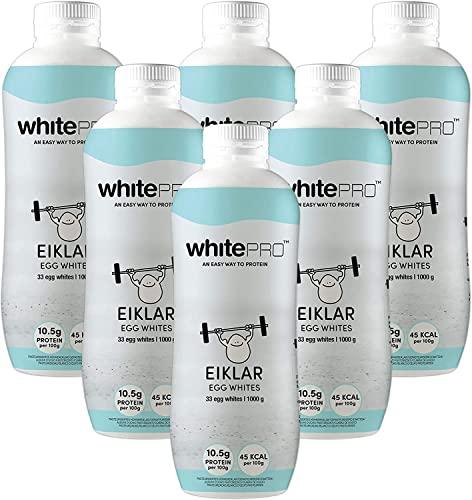 whitePROTM Flüssiges Eiklar 6x 1kg Flaschen - 105 g reines Eiweiß pro Flasche