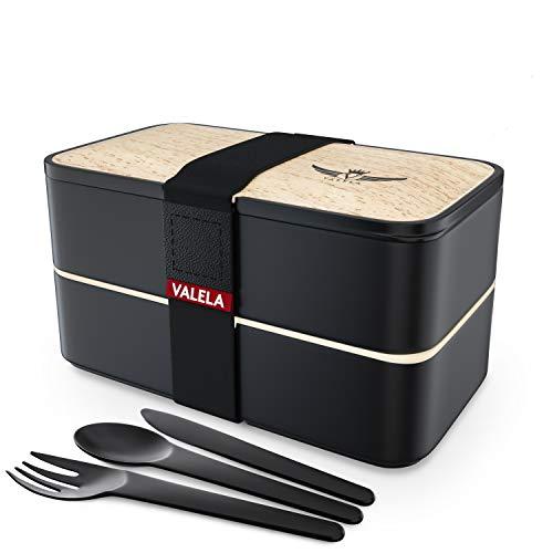 VALELA® Lunchbox - Praktische Bento Box für den Transport von Mahlzeiten - Design Brotdose für die Schule und Arbeit für Kinder & Erwachsene - 3 teiligem Besteck+ E-Book