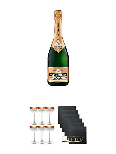 Kupferberg Gold Sekt trocken Österreich 0,75 Liter + Sektschale Stölzle 6 Gläser - Olympic Serie matt-weiß BRONZE 273/88/08 + Schiefer Glasuntersetzer eckig 6 x ca. 9,5 cm Durchmesser