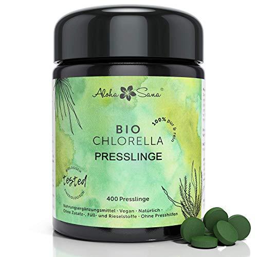 Aloha Sana ® - Bio Chlorella Algen 400 Presslinge a 400 mg im Ultraviolettglas, laborgeprüft, energetisch getestet, Vitamin B12, Premium Produkt, Made in Germany, DE-ÖKO-007