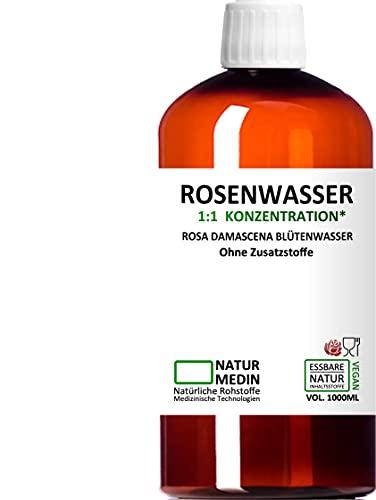 ROSENWASSER 1000-ml Gesichtswasser, 100{8e3d1d26e17464786fa063dbb6dc8ed81a931c89925b048b9054863c91116d67} naturrein, 1:1 Konzentration, Rosa damascena Blüttenwasser, ohne Zusatzstoffe, PET Braunflasche, nachhaltig