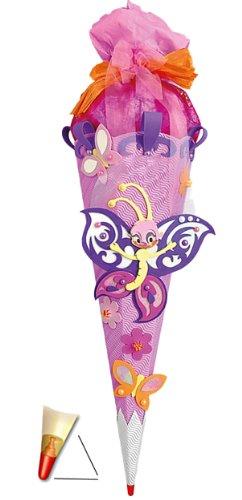 Unbekannt BASTELSET Schultüte - Schmetterling 85 cm - mit Holzspitze - Zuckertüte Roth - ALLE Größen - 6 eckig Mädchen Blüten Blumen Schmetterlinge lila