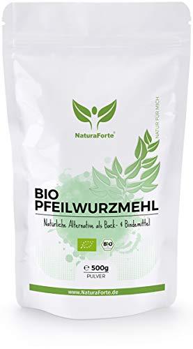 NaturaForte Bio Pfeilwurzmehl 500g - Starkes Bindemittel und Ei Ersatz, Pfeilwurzelmehl perfekt zum Backen und Binden, Vegan, Geschmacksneutral, Abgefüllt und kontrolliert in Deutschland
