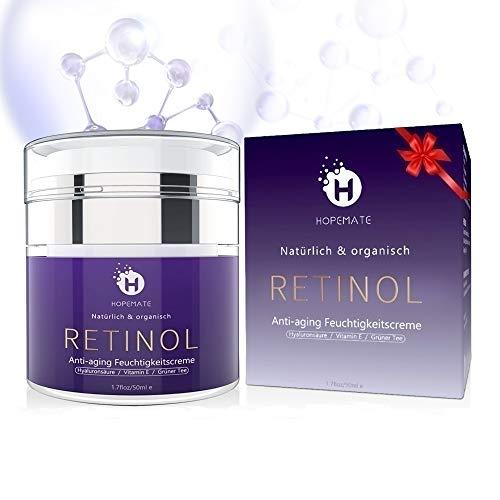 Retinol Feuchtigkeitscreme Creme, Anti-Aging & Anti Falten Creme von HOPEMATE für Gesicht & Augen, für Tag & Nacht, mit 2,5{39130e636ba0627ce5c48cff69e763dd004db5c3d59d8611df2c89a5a3ac4e45} Retinol + Hyaluronsäure + Vitamin E + Grüner Tee + Jojobaöl, 50ml