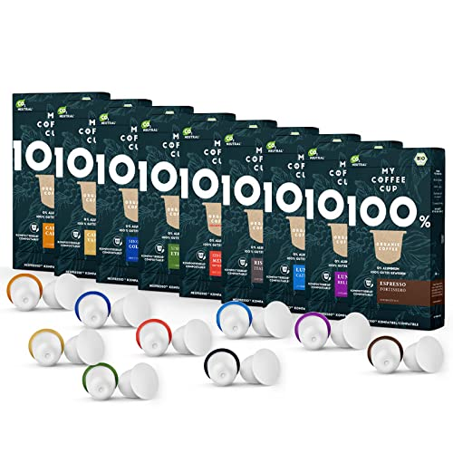 Kaffee-Liebhaber-Box - 9 x 10 BIO Kaffeekapseln von My-CoffeeCup   Kompatibel mit Nespresso®*-Maschinen   100{74ceeeef48acbfbc70f4b26030e052d14ece3dd68311870460e250f52bca45dd} kompostierbare Kapseln ohne Alu   90 Kapseln 9 Sorten